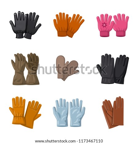 Isolated object of glove and winter icon. Set of glove and equipment vector icon for stock.