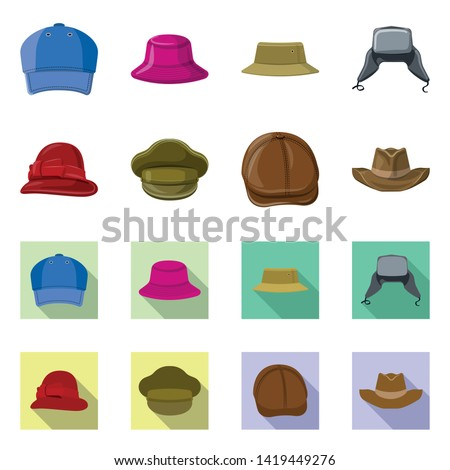Isolated object of headgear and cap icon. Collection of headgear and accessory stock symbol for web.
