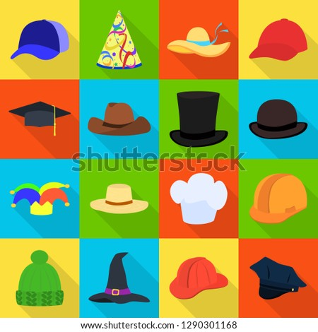 Isolated object of headgear and napper symbol. Set of headgear and helmet stock vector illustration.