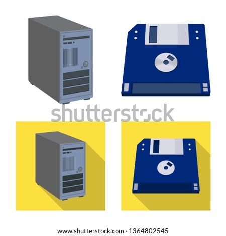 Isolated object of laptop and device sign. Set of laptop and server stock vector illustration.