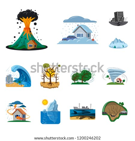 Isolated object of natural and disaster logo. Collection of natural and risk stock symbol for web.