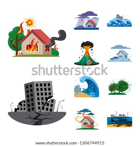 Isolated object of natural and disaster symbol. Collection of natural and risk stock vector illustration.