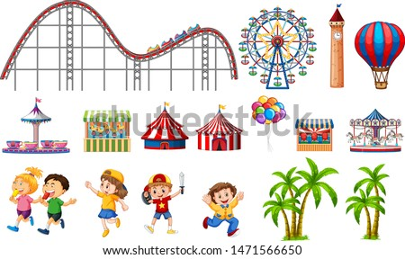 Isolated objects from circus theme with  kids and rides illustration
