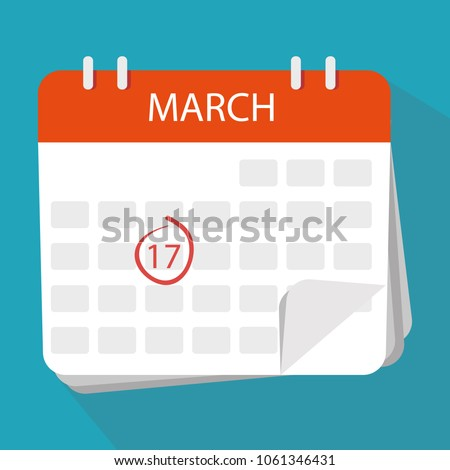Isolated on white background. St. Patrick's Day celebration. Vector. Calendar icon. The 17th March.