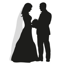 isolated on white background, wedding silhouettes bride and groom, happy wedding