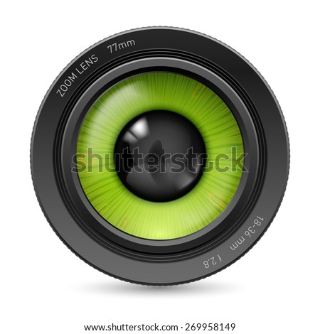 isolated on white camera lens