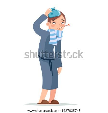 Isolated on white ill cold flu disease illness virus sick man cartoon character design vector illustration
