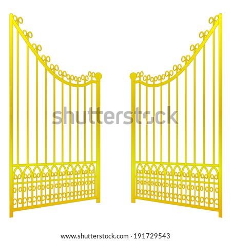 isolated on white open golden