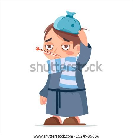 Isolated on white sick ill boy cold virus flu disease male illness medicine man infection character cartoon design vector illustration