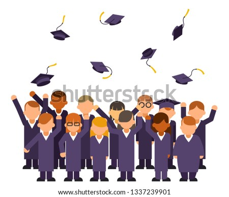 Isolated on white students crowd celebrate rejoice flying graduation hats group solemn graduate characters isolated on white flat design vector illustration