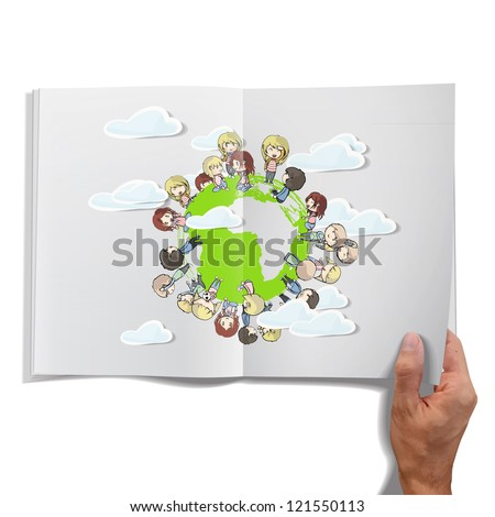 Isolated open book on white background with children around the world. Vector illustration.