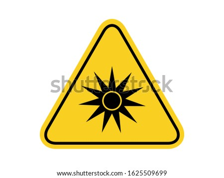 isolated  optical radiation, common hazards symbols on yellow round triangle board warning sign for icon, label, logo or package industry etc. flat  style vector design.
