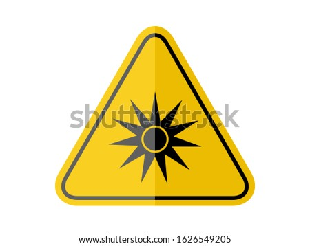 isolated  optical radiation, common hazards symbols on yellow round triangle board warning sign for icon, label, logo or package industry etc. flat paperwork style vector design.