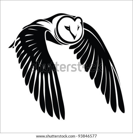isolated owl in flight   vector