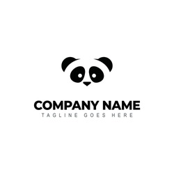 Isolated panda logo cartoon. Animal illustration.