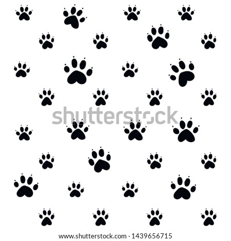 Isolated paws on white background. Good for textile, fabric, zoo shops advertising, wrapping paper. Cute dog and cat paw pattern