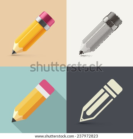 Isolated pencil in different styles of drawing (photorealism, sketch, flat and icon), eps 10