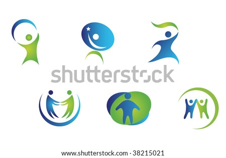 Isolated people signs and symbols for peace or sport design - abstract emblem or template