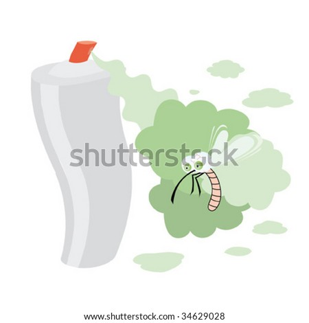 Isolated picture with the spray and goggle-eyed mosquito. Vector illustration.