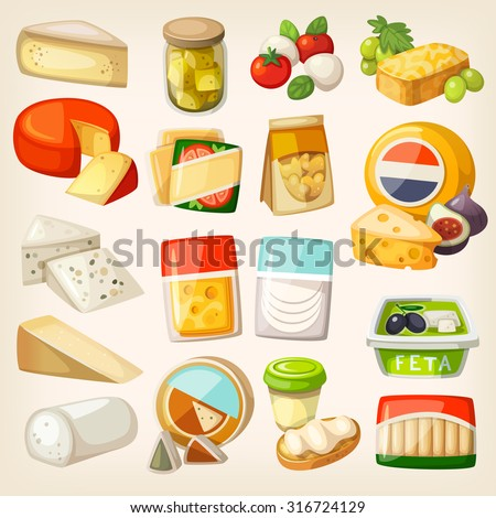 Isolated pictures of most popular kinds of cheese in packaging. Slices and pieces of cheese and some products to use them with.