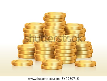 Isolated pile of golden coins