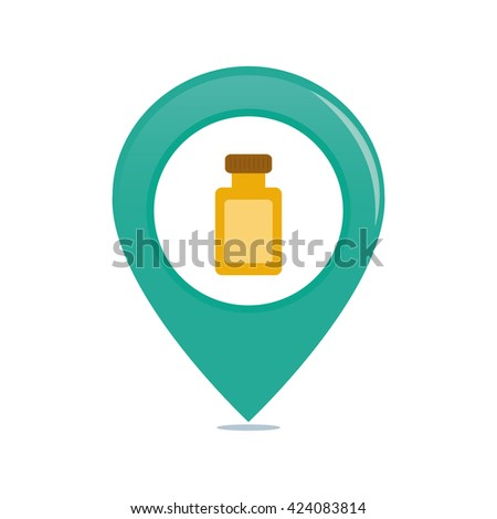 Isolated pin with a flask of lotion on a white background