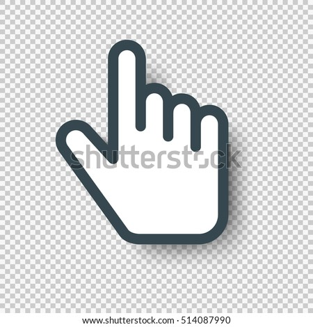 Isolated Pointer Hand Cursor Icon. Vector illustration with shadow