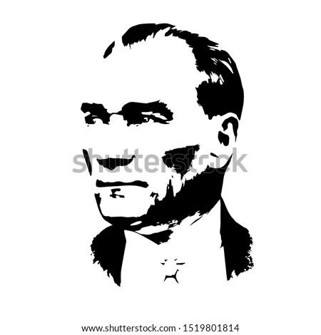 isolated portrait of Mustafa Kemal Atatürk