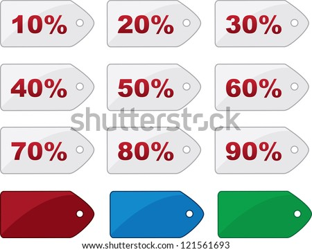 Isolated price tags with various percentages