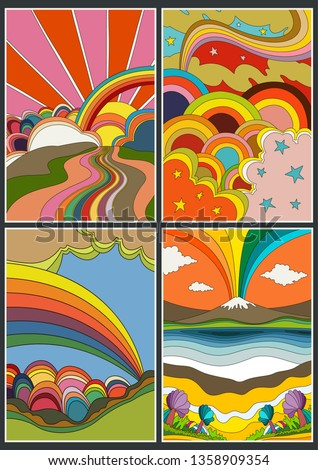 Isolated Psychedelic Posters, Covers from the 1960's Vintage Colors