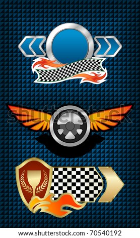 Isolated racing symbols and icons for design - also as emblem. Jpeg version also available in gallery