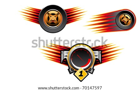Isolated racing symbols and icons for design - also as emblem or logo template. Jpeg version also available in gallery