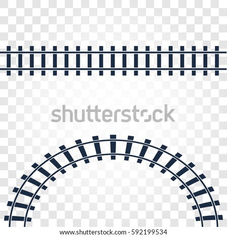 Isolated rails, railway top view, ladder elements vector illustrations on checkered gradient background.