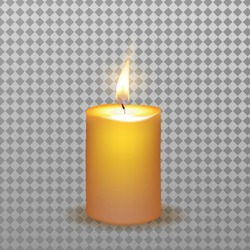 Isolated realistic burning candle with flame vector illustration.
