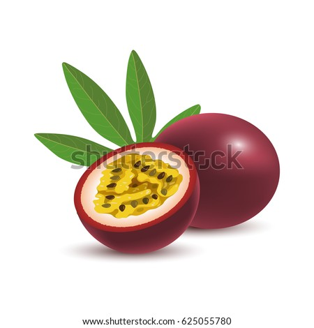 Isolated realistic colored whole and half of juicy purple passion fruit and green leaf with shadow on white background.