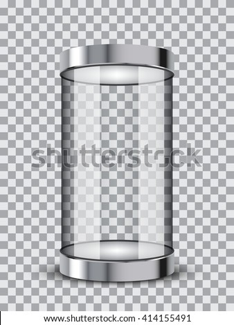 Isolated realistic empty glass showcase. Vector illustration on transparent background