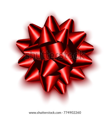 Isolated realistic red satin bow for gift. Vector illustration