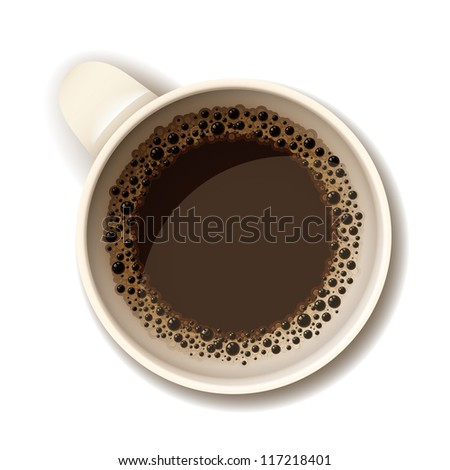 Isolated realistic vector cup of hot coffee