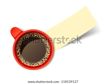Isolated realistic vector red cup of hot coffee with empty piece of paper.