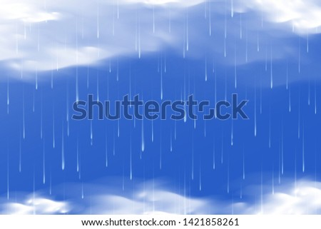 isolated realistic water drop and cloud vector Illustration element. Monsoon season background with cloudy and rainy.