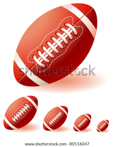 isolated  red american footballs on the white background - stock vector