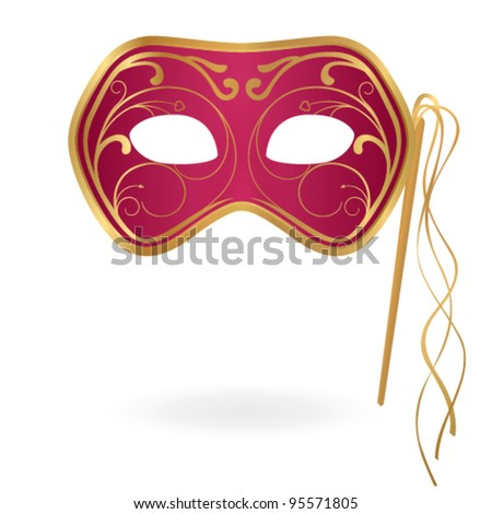 Isolated red Carnival mask with floral golden pattern. Vector illustration on white background - stock vector