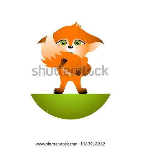 isolated red cartoon fox cub on