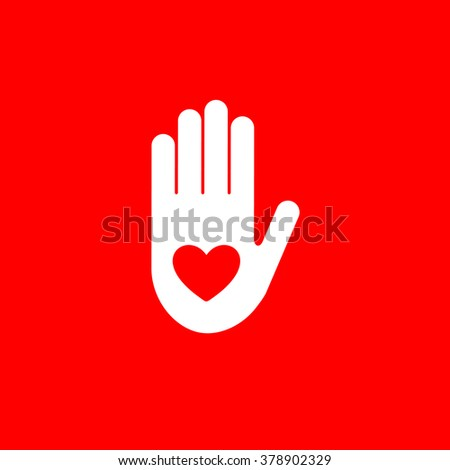 Isolated red heart in white hand vector logo. Like symbol. Give five sign. Help icon. Volunteering illustration. Heart surgery. Cardiology emblem. Medical element. ストックフォト ©