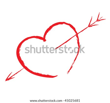 isolated red heart pierced by arrow write by hand