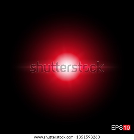 isolated red Rays with lens flare, Sun flare, flare on the black background. Transparent Vector Illustration