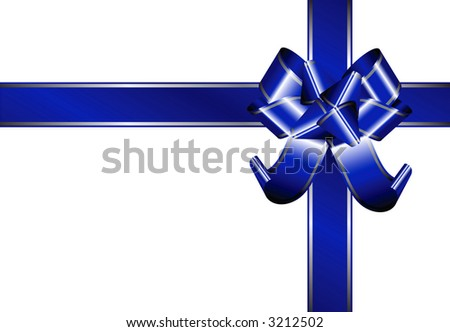 Isolated Ribbon - blue ribbon with silver lines