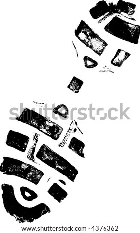 Isolated Right ShoePrint - Highly detailed vector of a walking shoe