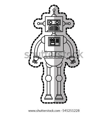 Isolated robot cartoon design