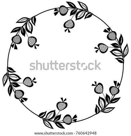 isolated round floral frame....
